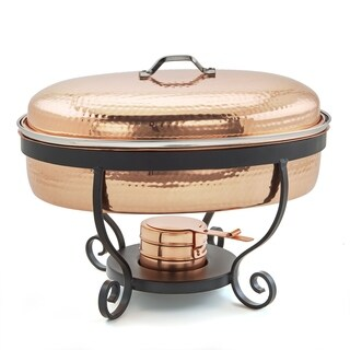 "16½"" x 14¼"" x 13"" Hammered Copper Chafing Dish, 6 Qt."