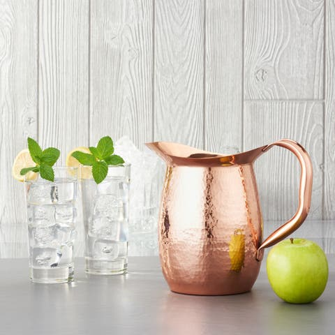 Stone Hammered Solid Copper Water Pitcher, 2 Qt