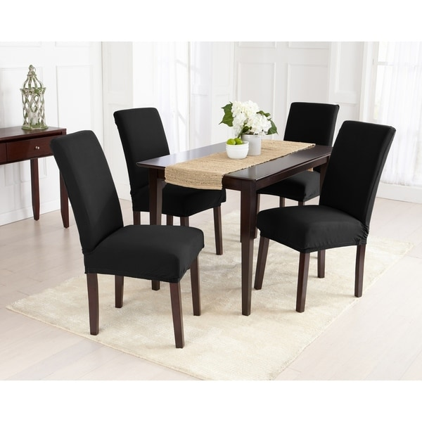 Great Bay Home 4-Pack Jersey Knit Solid Dining Room Chair Cover
