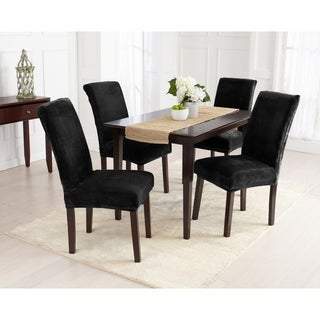 Great Bay Home 4-Pack Velvet Plush Solid Dining Room Chair Cover