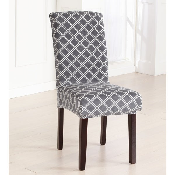 Great Bay Home 2-Pack Velvet Plush Printed Dining Room Chair Cover