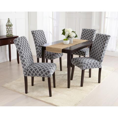 Great Bay Home 4-Pack Velvet Plush Printed Dining Room Chair Cover