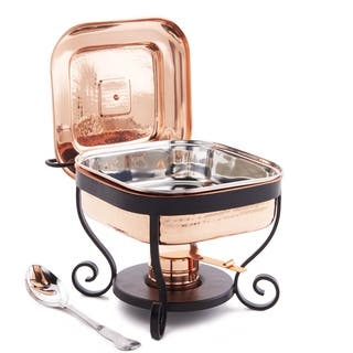 """11½"""" x 10¼"""" x 9½"""" Hammered Copper Chafing Dish & Stainless Steel Spoon, 3 Qt."""