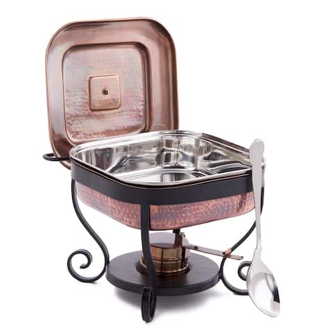 "11½"" x 10¼"" x 9½"" Hammered Antique Copper Chafing Dish & Stainless Steel Spoon, 3 Qt."
