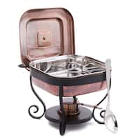 """11½"""" x 10¼"""" x 9½"""" Hammered Antique Copper Chafing Dish & Stainless Steel Spoon, 3 Qt."""