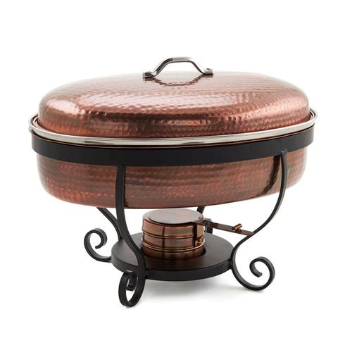 """16½"""" x 14¼"""" x 13"""" Hammered Antique Copper Chafing Dish, 6 Qt."""