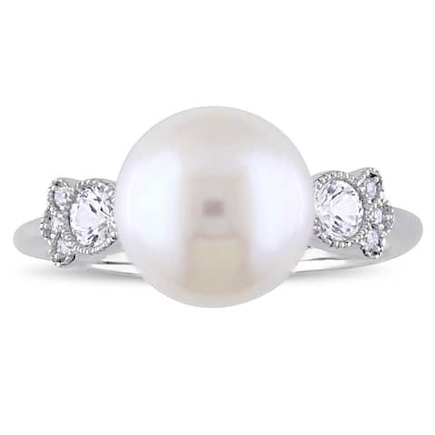 Miadora 10k White Gold Cultured Freshwater Pearl White Sapphire Diamond Pearl Ring (9-10 mm)
