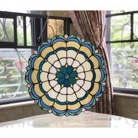 Chloe Tiffany Style Round Stained Glass Window Panel