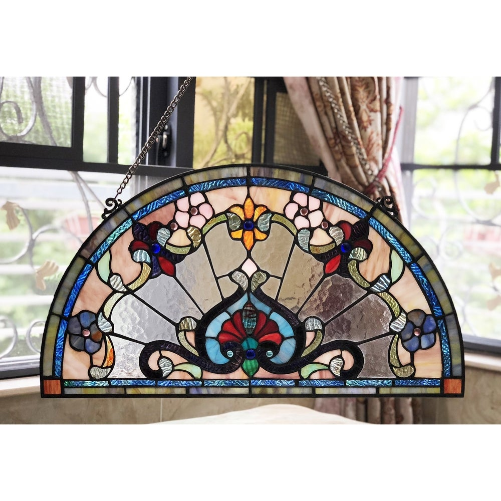Round stained glass window panel blue green amber suncatcher abstract stained glass panel window hanging geometric 0380 13 34 x 13 34