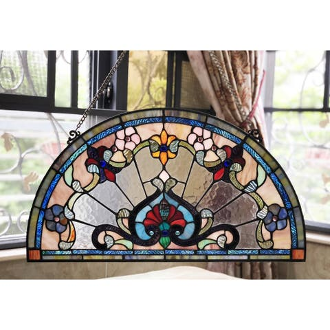 Chloe Tiffany Style Stained Glass Semi Circle Window Panel