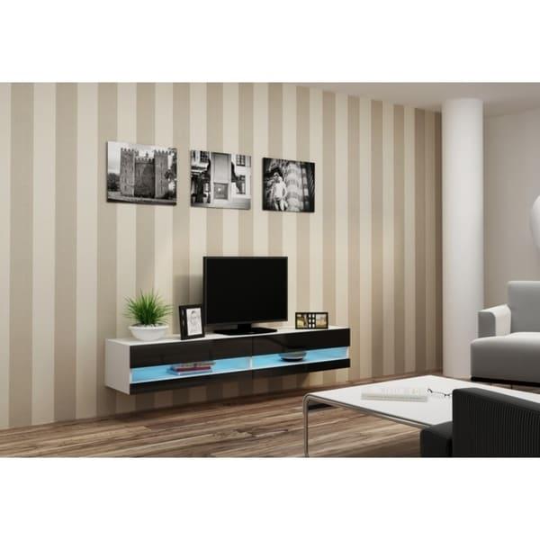 Shop Vigo New High Gloss Tv Stand White Black On Sale Free