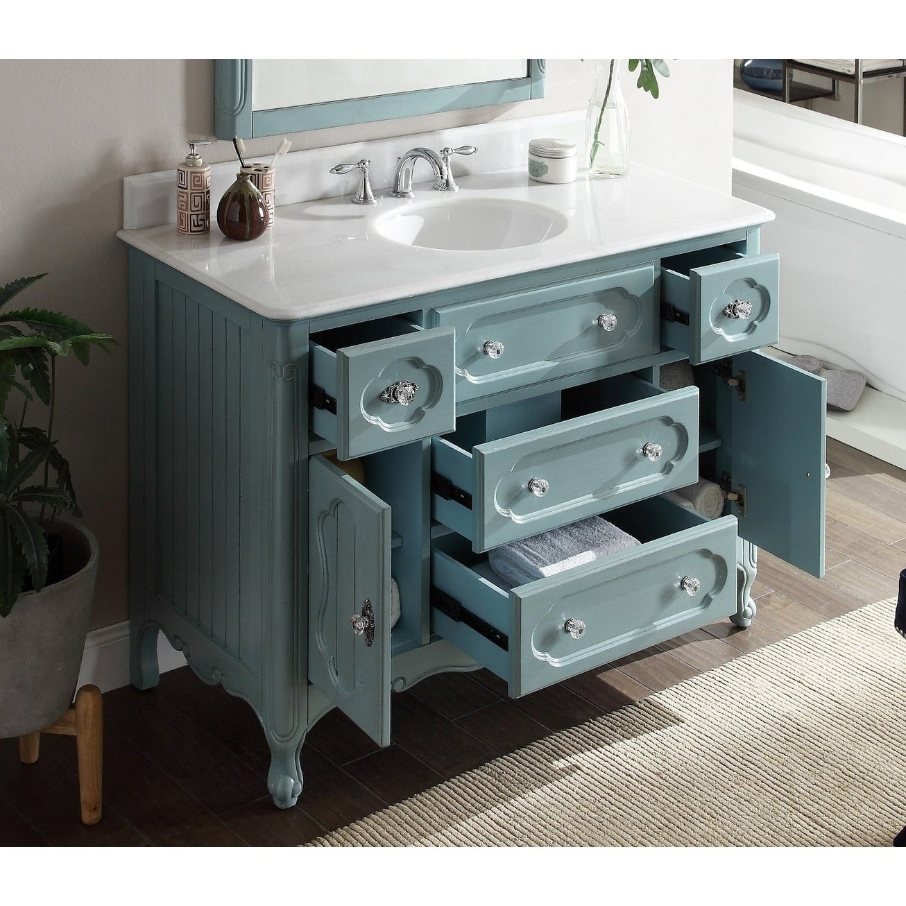 48 Benton Collection Knoxville Shabby Chic Light Blue Bathroom Vanity