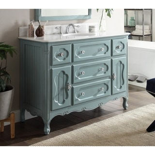 "48"" Benton Collection Knoxville Shabby Chic Light Blue Bathroom Vanity"