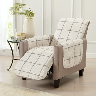 Great Bay Home Stain Resistant Window Pane Printed Recliner Furniture Protector
