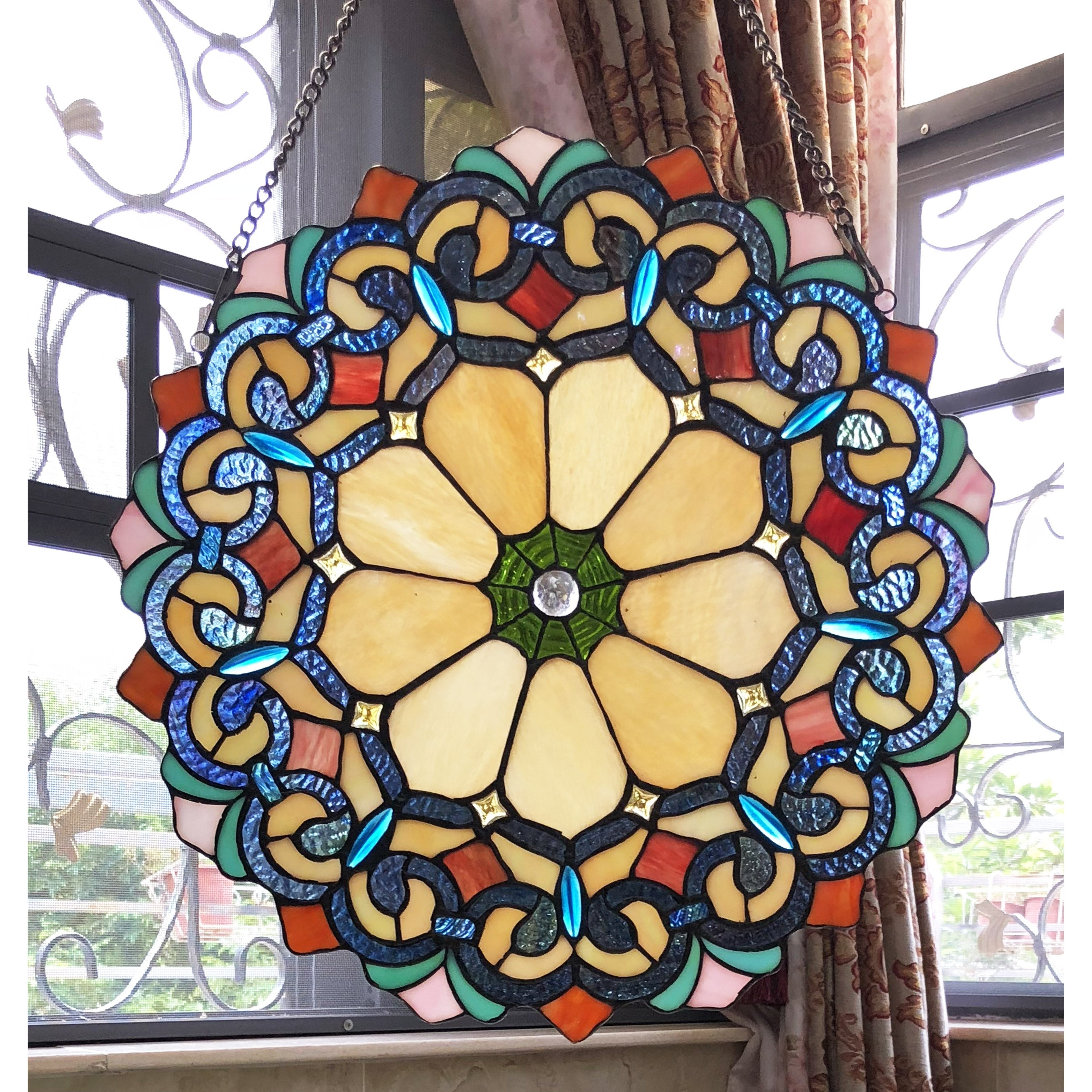 Shop Black Friday Deals On Chloe Tiffany Style Stained Glass Window Panel Suncatcher Overstock 25417453