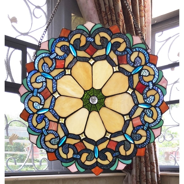 152bf9126ad694 Chloe Tiffany Style Stained Glass Window Panel Suncatcher - 18 inches round