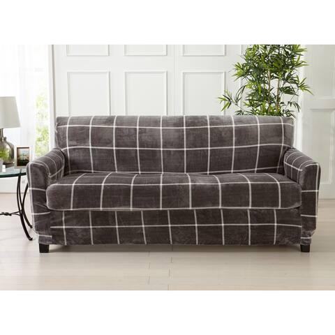 Great Bay Home 2 Piece Printed Velvet Plush Strapless Sofa Slipcover