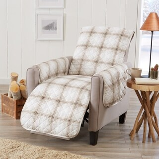 Great Bay Home Stain Resistant Plaid Printed Recliner Furniture Protector
