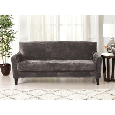 Great Bay Home 2 Piece Solid Velvet Plush Strapless Sofa Slipcover