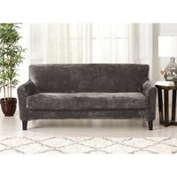 Great Bay Home 2 Piece Solid Velvet Plush Strapless Sofa Slipcover