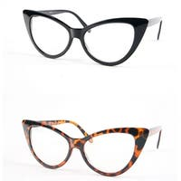 Retro Vintage Style Cat Eye Frame Clear Lens Glasses P4007CL