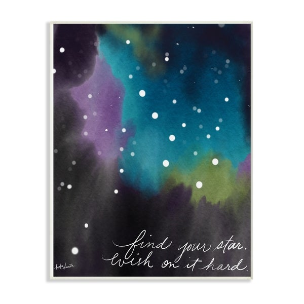 The Kids Room By Stupell Find Your Star Blue Purple and Green Sky Space Wood Wall Art, 10x15, Proudly Made in USA - Multi-color