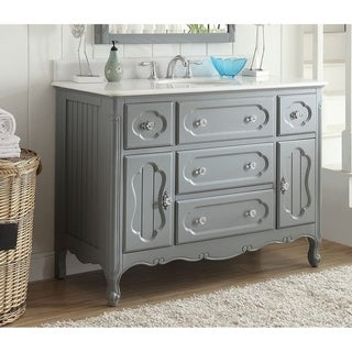 """48"""" Benton Collection Knoxville Shabby Chic Gray Bathroom Vanity"""