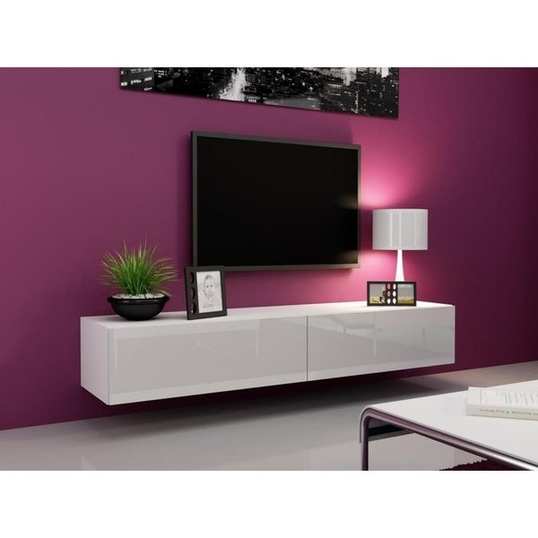 Shop Vigo High Gloss Tv Stand White White On Sale Free Shipping