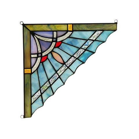 Chloe Tiffany Style Stained Glass Window Corner Panel