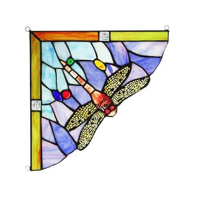 Chloe Tiffany Style Stained Glass Window Corner Panel
