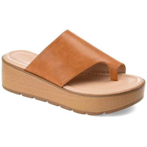 Journee Collection Women's Comfort Arabel Faux Leather Sandal