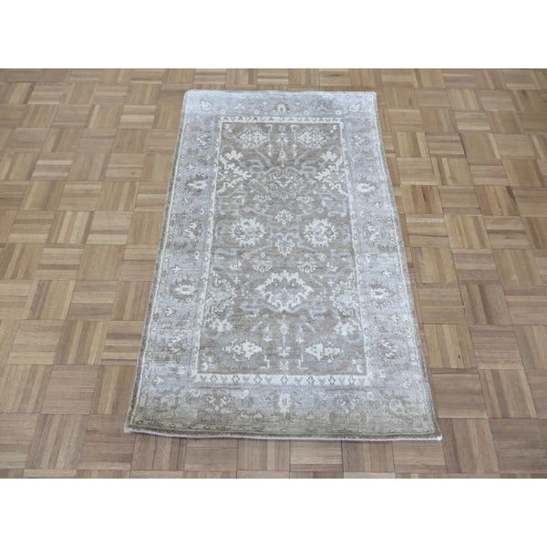 """Hand Knotted Brown Bamboo Silk Oushak with Bamboo Silk Oriental Rug (3' x 5'1"""") - 3' x 5'1"""""""