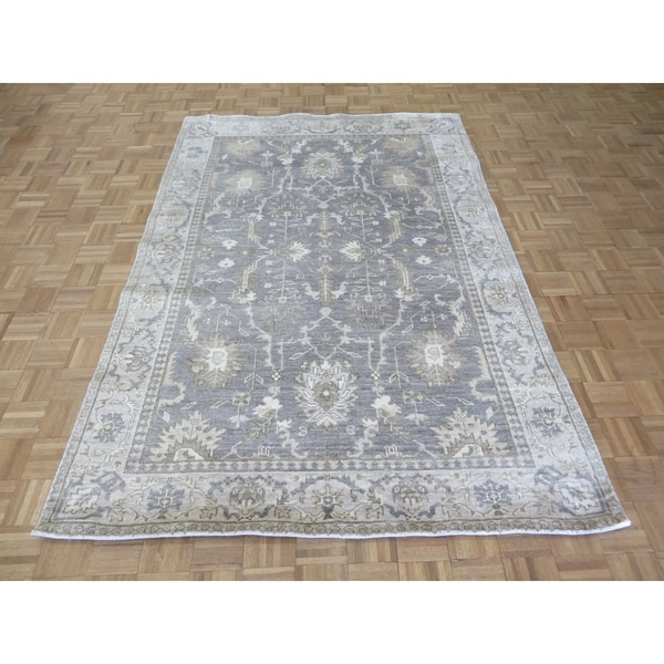 """Hand Knotted Gray Turkish Bamboo Silk Oushak with Bamboo Silk Oriental Rug (5'10"""" x 8'9"""") - 5'10"""" x 8'9"""""""