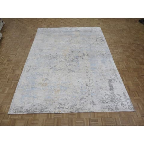 """Hand Knotted Ivory Modern with Wool & Silk Oriental Rug (9' x 12'3"""") - 9' x 12'3"""""""