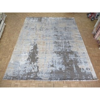 """Hand Knotted Gray Modern with Bamboo Silk Oriental Rug (12'3"""" x 15'3"""") - 12'3"""" x 15'3"""""""
