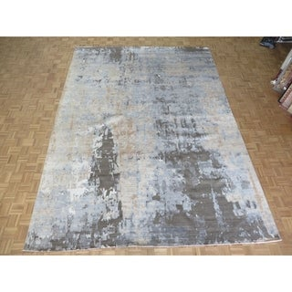 """Hand Knotted Gray Modern with Bamboo Silk Oriental Rug (10'3"""" x 14'1"""") - 10'3"""" x 14'1"""""""
