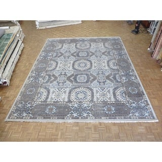 "Hand Knotted Gray Egyptian with Wool Oriental Rug (12'3"" x 15'4"") - 12'3"" x 15'4"""