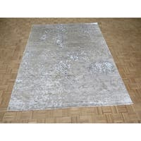 "Hand Knotted Gray Modern with Wool & Silk Oriental Rug (8' x 10'3"") - 8' x 10'3"""