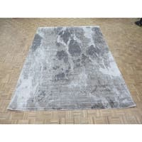 """Hand Knotted Gray Modern with Wool & Silk Oriental Rug (9' x 12'3"""") - 9' x 12'3"""""""