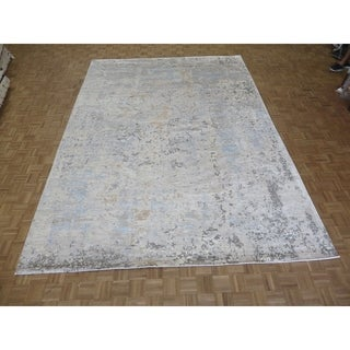 """Hand Knotted Ivory Modern with Wool & Silk Oriental Rug (10'2"""" x 14'2"""") - 10'2"""" x 14'2"""""""