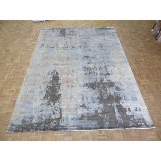 """Hand Knotted Gray Modern with Bamboo Silk Oriental Rug (9'2"""" x 12'3"""") - 9'2"""" x 12'3"""""""