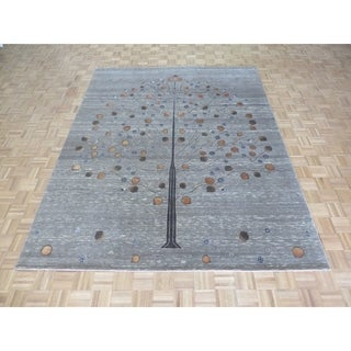 """Hand Knotted Gray Gabbeh with Silk Blend Oriental Rug (8'2"""" x 10'3"""") - 8'2"""" x 10'3"""""""