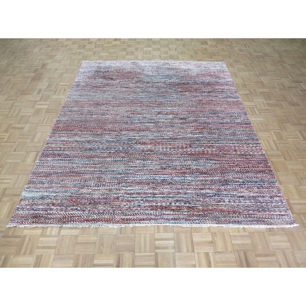 """Hand Knotted Multi Colored Ikat with Wool Oriental Rug (7'11"""" x 9'6"""") - 7'11"""" x 9'6"""""""