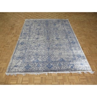 """Hand Knotted Gray Tabriz with Wool & Silk Oriental Rug (8' x 10'2"""") - 8' x 10'2"""""""