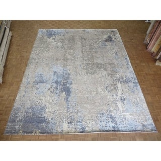 """Hand Knotted Gray Modern with Wool & Silk Oriental Rug (12'1"""" x 15') - 12'1"""" x 15'"""