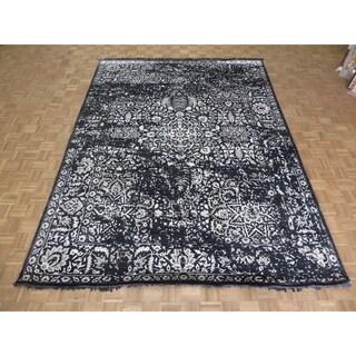 "Hand Knotted Black Tabriz with Wool & Silk Oriental Rug (9' x 12'1"") - 9' x 12'1"""