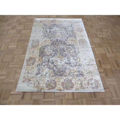 """Hand Knotted Lavender Tabriz with Wool & Silk Oriental Rug (4' x 6'1"""") - 4' x 6'1"""""""