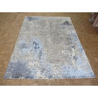 "Hand Knotted Gray Modern with Wool & Silk Oriental Rug (9'1"" x 12'2"") - 9'1"" x 12'2"""