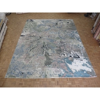 """Hand Knotted Multi Colored Modern with Wool & Silk Oriental Rug (12'1"""" x 15'3"""") - 12'1"""" x 15'3"""""""