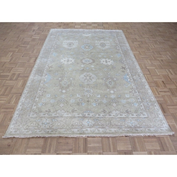 Shop Beige Wool Hand Knotted Oriental Persian Area Rug 6: Shop Hand Knotted Sand Beige Sultanabad Oushak With Wool